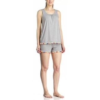 PJ Couture Women's Rainbow Fun PomPom Grey Tank/Short Pajama Set