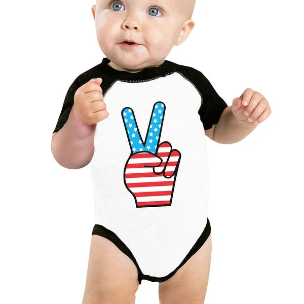 Peace Sign American Flag Baby Raglan Bodysuit Cute Baby Shower Gifts