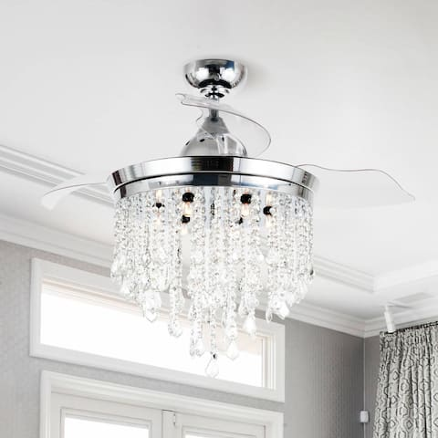 Silver Orchid Shearer Chrome 42-inch Crystal Ceiling Fan Chandelier