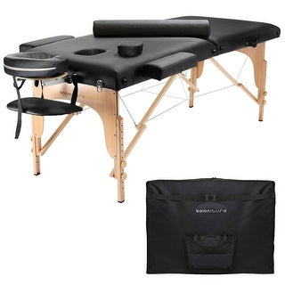 Premium Portable Black Massage Table with Bolster and Aluminum Headrest