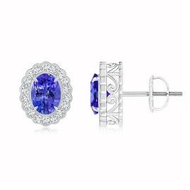 Diamond Halo Oval Tanzanite Stud Earrings with Milgrain Detailing