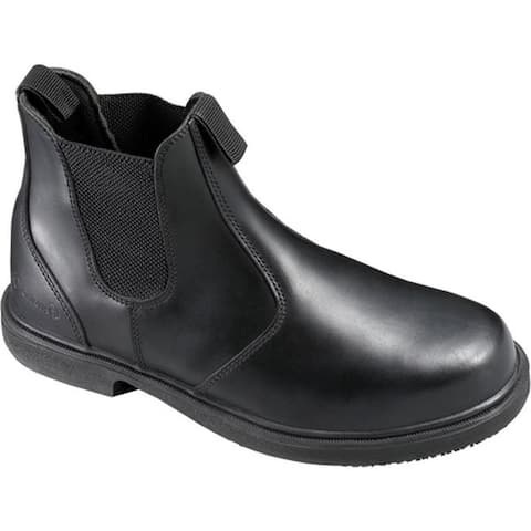 Genuine Grip Footwear Men's Slip-Resistant Twin Gore Boot Black Leather