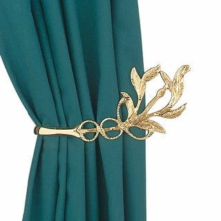 Vintage Pair Vine Curtain Tie Back Holder Bright Brass Renovator's Supply