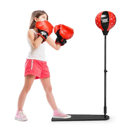 Kids Punching Bag w/Adjustable Stand Boxing Gloves Boxing Set
