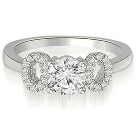 0.65 cttw. 14K White Gold Round Cut Diamond Engagement Ring