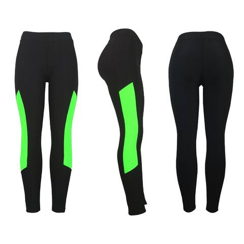 Women's Athletic Fitness Sports Yoga Pants Small-Medium/Black-Green