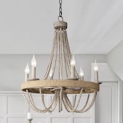 Vintage Chandelier Light Fixture Ceiling Light with Wood Bead Chain - Oak
