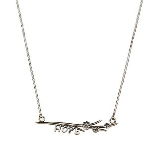 """Floriana Women's Hope Bar Necklace - 2"""" Wide Silver-Plated Inspirational Jewelry"""