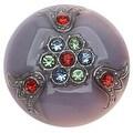 Czech Glass Flat Back Button Cabochons, Rhinestone Studded 31mm Round, 1 Piece, Mulit Color - Thumbnail 0