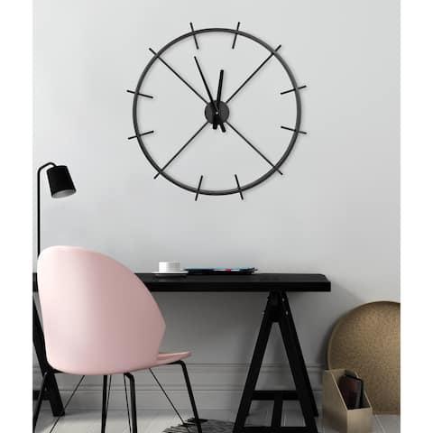"""Kate and Laurel Isaac Modern Metal Wall Clock, 26"""" Diameter, Black - 26"""" Diameter"""