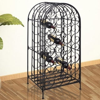vidaXL Wine Rack Stand for 35 Bottles Metal Holder Bar Liquor Display Storage