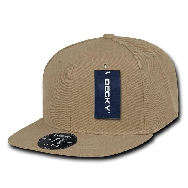 78ede0be1182f8 Shop Plain Round Flat Bill Structured Baseball Cap Fitted Hat - Khaki 7 1/4  - 7 1/4 - Free Shipping On Orders Over $45 - Overstock - 18617367