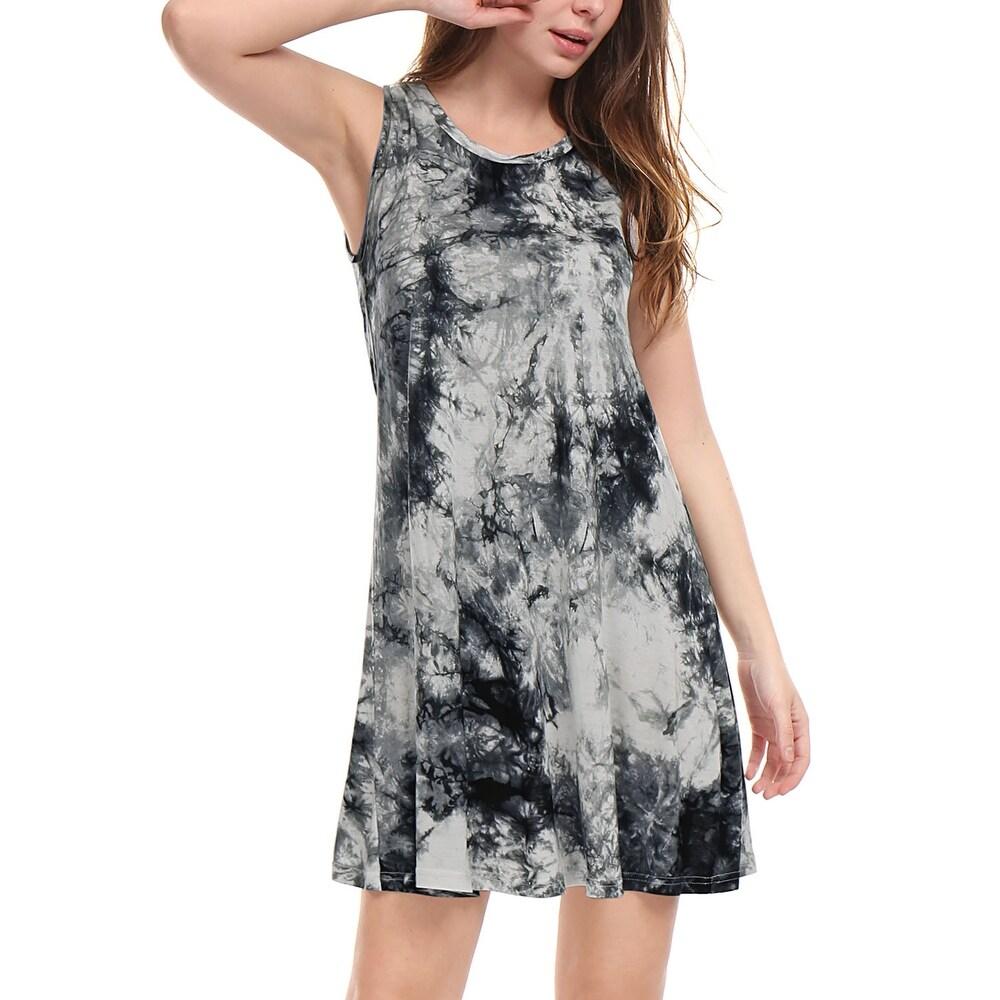 Unique Bargains Women Sleeveless Round Neck Above Knee Tie-Dye Dress