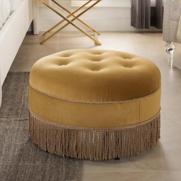 Yolanda Tufted Velvet Decorative Round Footstool Ottoman by Jennifer Taylor Home. Opens flyout.