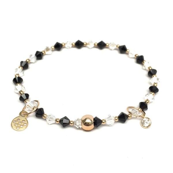 """Black & White Crystal Emily 7"""" Bracelet"""
