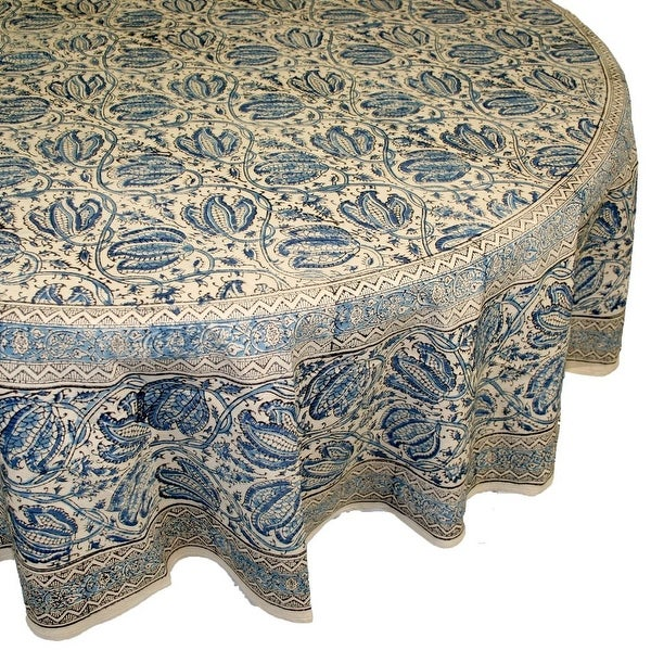 Handmade Vegetable Dye Block Print Tablecloth 100 Cotton  : Handmade Vegetable Dye Block Print Tablecloth 10025 Cotton Blue Rectangle Square Round from www.overstock.com size 600 x 600 jpeg 145kB