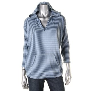 American Living Womens Striped Hooded Pullover Top