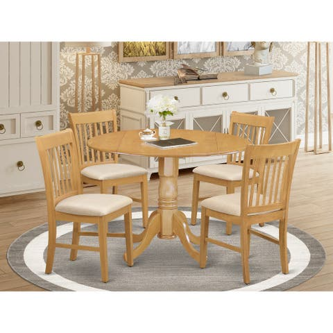 Small Kitchen Table set-round Kitchen Table and 4 Dining Chairs (Finish Option)