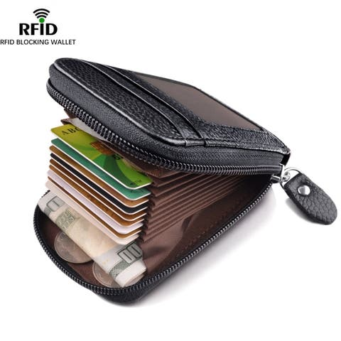 Leather Wallet Zipper Credit Card Wallet Rfid Credit Card Holder Protector Id Card Window Credit Card