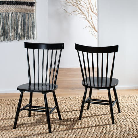 """SAFAVIEH Country Classic Dining Country Lifestyle Spindle Back Black Dining Chairs (Set of 2) - 20.5"""" x 21"""" x 36"""""""