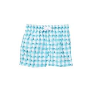 Azul Baby Boys Light Blue Anchors Print Drawstring Swim Shorts
