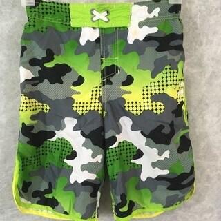 Cherokee bathing suit swim trunks boys Size L camouflage green gray