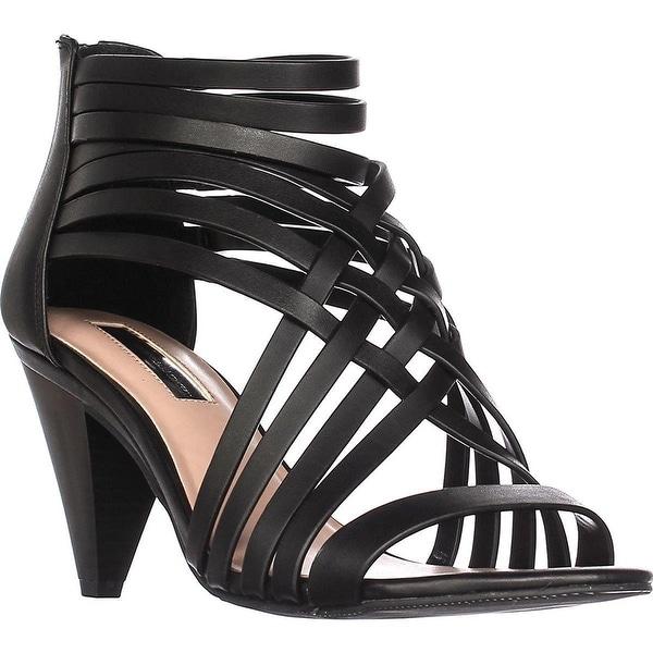 INC International Concepts I35 Garoldd Strappy Heeled Sandals, Black