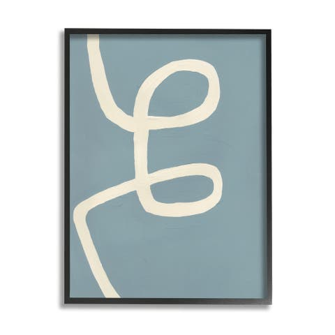 Stupell Industries Abstract Curved Line Off-White over Blue Framed Wall Art