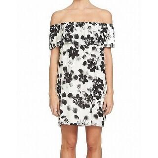 1.State Black Womens Floral Off Shoulder Sheath Dress