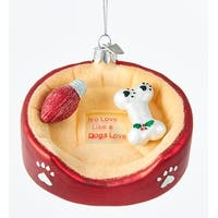 Kurt Adler Noble Gems Dog Bed With Bone  Holiday Ornament Glass