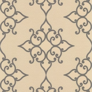 Brewster DL30606 Sebastian Gold Crepe Moroccan Medallion Wallpaper