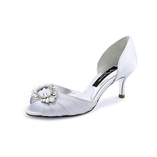 Nina Crystah Women Open-Toe Canvas Silver Heels