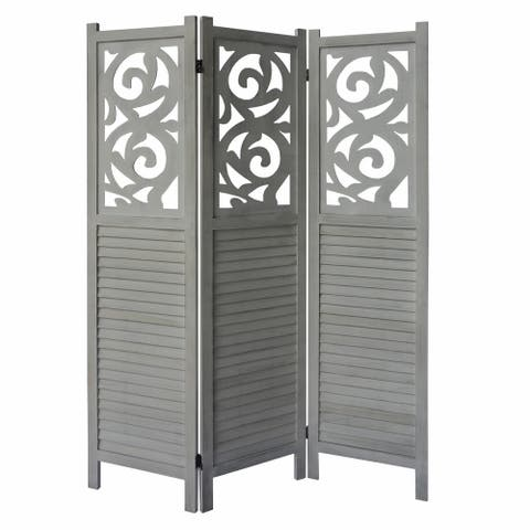 3 Panel Wooden Divider Privacy Screen with Scrolled Cut Out and Shutter Design, Distressed White