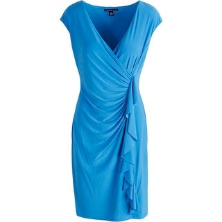 American Living Womens Cascade Ruffle Ruched Cocktail Dress