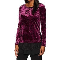 Karen Kane Purple Women's Size Small S Velvet Floral Lace-Hem Top
