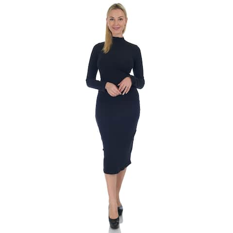 Simply Ravishing Cotton Ribbed Bodycon Mid Length Dress (Size: S-3X)