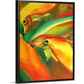 """""""Oil on canvas painting of fishes in red, green, and yellow"""" Black Float Frame Canvas Art"""