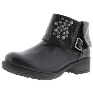 Baretraps Womens Hartman Combat Boots Faux Leather Belted