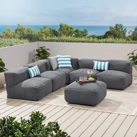 Pelham Outdoor Contemporary Fabric 5 Seater Bean Bag Sectional with Ottoman by Christopher Knight Home