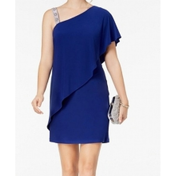 ea853584cad4 Shop MSK Blue Womens Size Medium M One Shoulder Draped Shift Dress - On Sale  - Free Shipping On Orders Over $45 - Overstock - 27409216