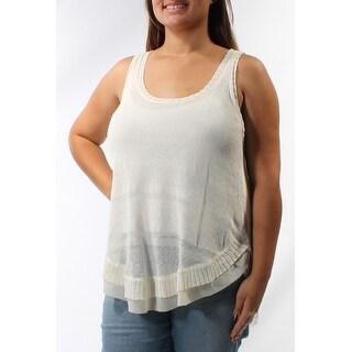 RACHEL ROY $79 Womens New 1142 Ivory Scoop Neck Sleeveless Hi-Lo Sweater XL B+B