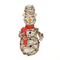 "28"" Lighted Champagne Gold Glittered Rattan Berry Snowman Christmas Outdoor Decoration"