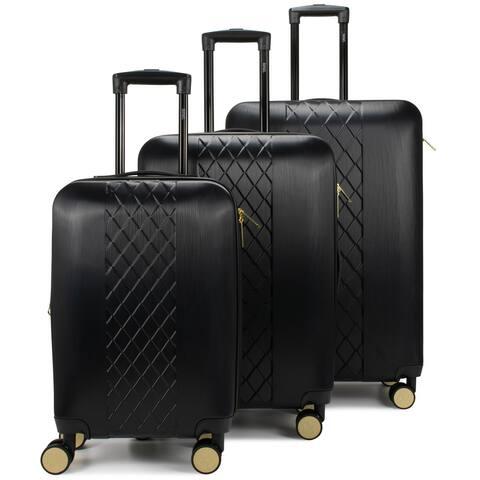 Badgley Mischka Diamond Hard Expandable Spinner Luggage Set (3 Piece)