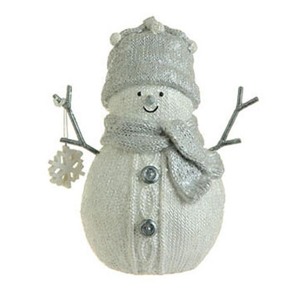"7"" White Faux Knit Mica Glitter Snowman w/ Snowflake Christmas Table Top Figure"