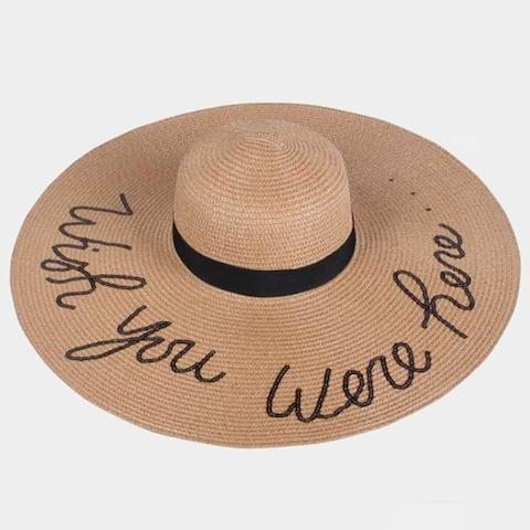 Amtal Women Wish You Were Here Sequins Design Large Floppy Straw Paper Summer Beach Hat W/ Ribbon Trim