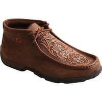 Twisted X Boots Women's WDM0081 Driving Moc Chukka Boot Brown/Tooled Flowers Leather