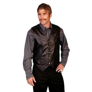 Scully Western Vest Mens Lambskin Leather Snap Black Soft 507-144