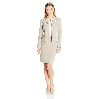 Tahari ASL Petite Contrast Piped Long Sleeve Jacket Skirt Suit - 12P