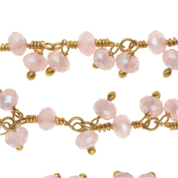 Vermeil Gold Wire Wrapped Gemstone Dangle Chain, 3.5mm Rose Quartz Rondelles, 1 Inch