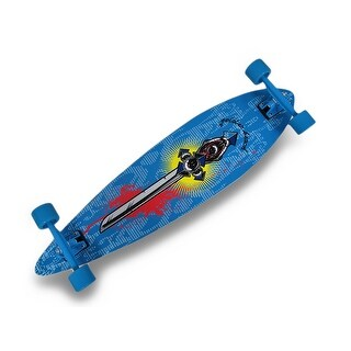 39 Inch Complete Pintail Longboard Cruiser Skateboard w/Sword Graphic - Blue